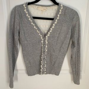 A'reve Heather Grey Cardigan Sheer Lace Back SM